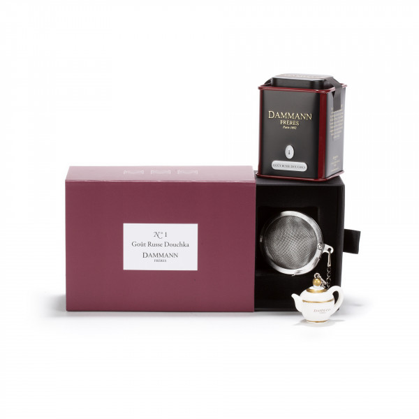 "COFFRET N°1 -  1 flavored tea ""Goût Russe Douchka"" in canister and 1 infuser"
