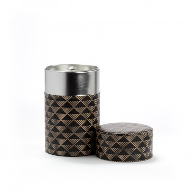 SANKAKKEI - black and white washi paper tea canister 100g