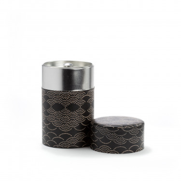 AIMAINA - black and white washi paper tea canister 100g