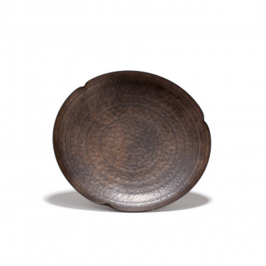 CHEONGDONG - soucoupe porcelaine - patine bronze