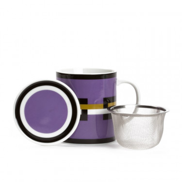 GRAPHIK - purple mug with strainer and filter