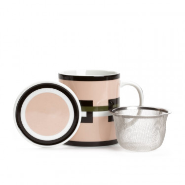 GRAPHIK - pale pink mug with strainer and filter