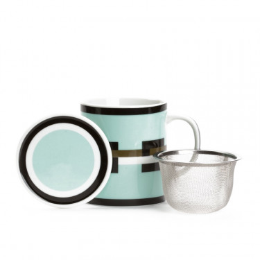 GRAPHIK  - pale green mug with strainer and filter