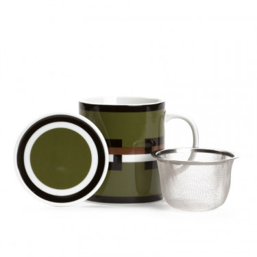 GRAPHIK - Kaki green mug with strainer and filter