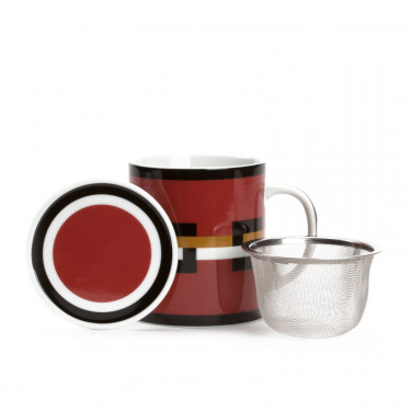 GRAPHIK - red mug with strainer and filter