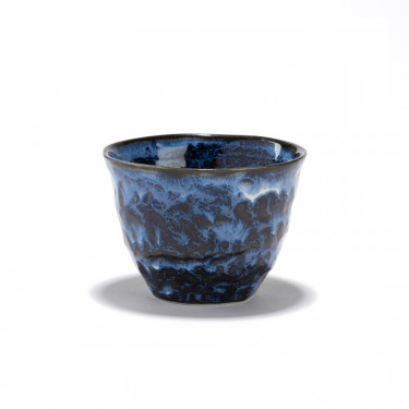CIEL -  hand brushed crackle porcelain blue tea bowl