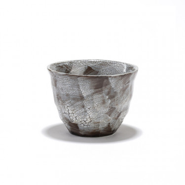 RIVAGE - hand brushed crackle porcelain grey tea bowl