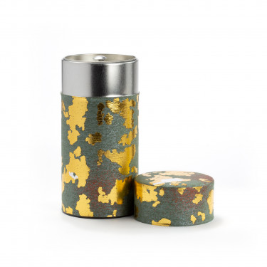 PEPITESU - green and gold washi paper tea canister 150g
