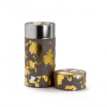 FURERU - grey and gold washi paper tea canister 150g