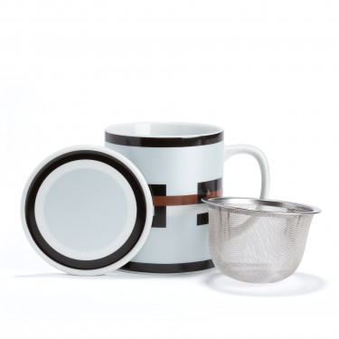 GRAPHIK - silver porcelain mug with strainer and filter