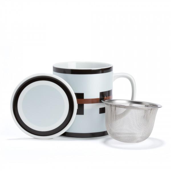 GRAPHIK - Mug gris métallisé en porcelaine avec filtre et couvercle