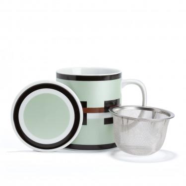 GRAPHIK Mug en porcelaine vert métallisé avec filtre et couvercle