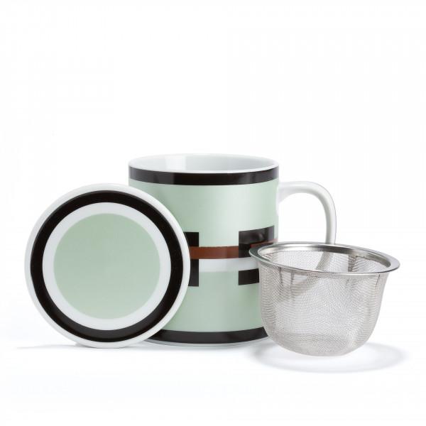 GRAPHIK Mug vert métallisé en porcelaine avec filtre et couvercle