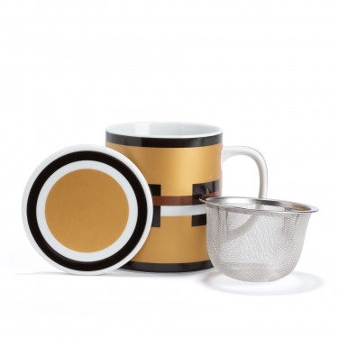 GRAPHIK - golden porcelain mug with strainer and filter