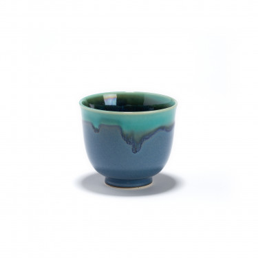 NAMI - bleu and green porcelain tea bowl