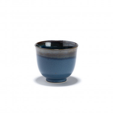 IWA - blue and black porcelain tea bowl