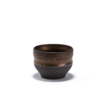 CHIKYU - stoneware tea bowl - bronze finish