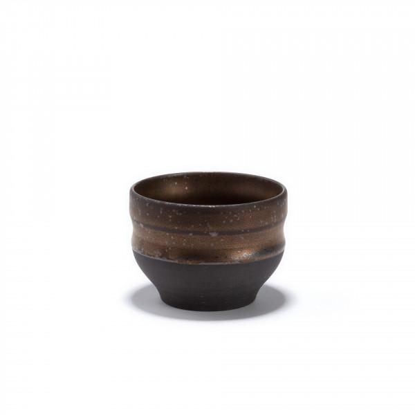 CHIKYU - stoneware tea bowl - bronze finish