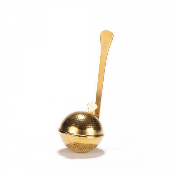 Cuillère à thé, boule inox perforé finition titanium or