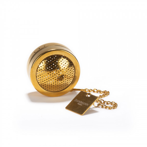 Perforated stainless steel tea ball titanium gold finish- diam. 4 cm