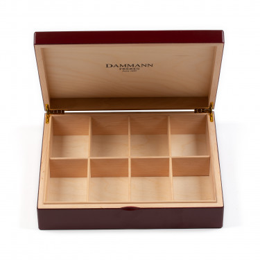 Burgundy wooden chest for tea bags display (empty)