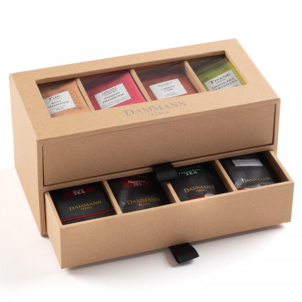 """7/7"" Gift set - 2 drawers kraft carboard case furnished with 56 teas bags"