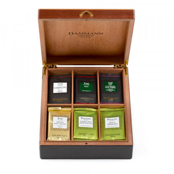 """""""BIENVENUE"""" Gift set - Wood chest gathering 42 sachets of 4 teas and 2 infusions."""