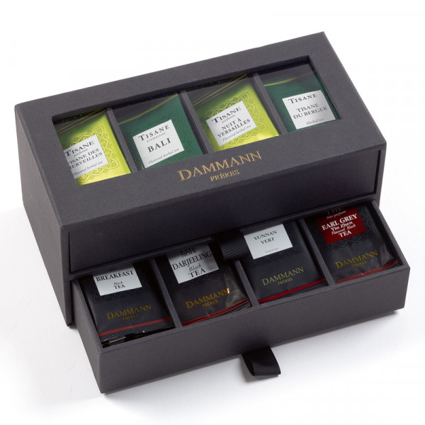 """24H/24"" gift set - 2 drawers black cardboard case furnished with 56 tea bags"