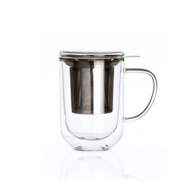 Downtown', double wall glass mug with stainless