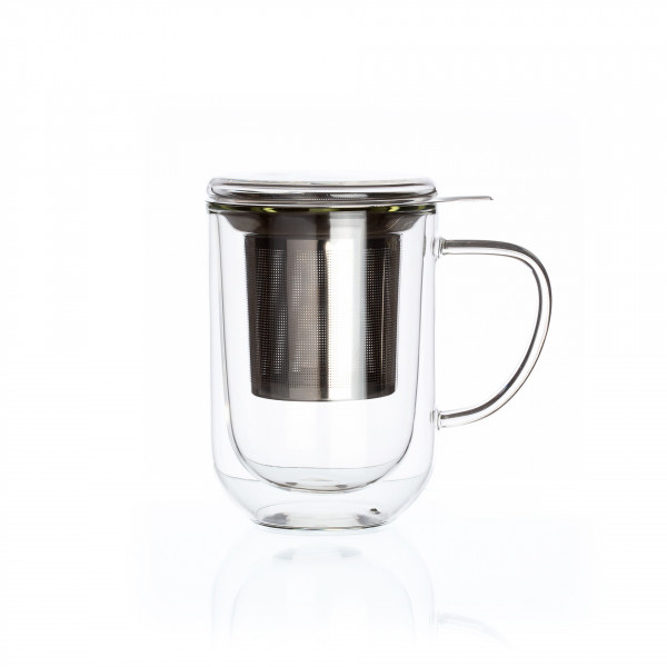 « Downtown », double wall glass mug with stainless steel filter