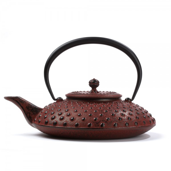 Japanese cast iron teapot - Kanbin 1,2 L - red