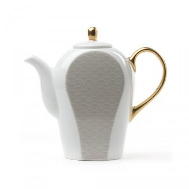 Théière Porcelaine - Auteuil 0,8 L - Gris & or
