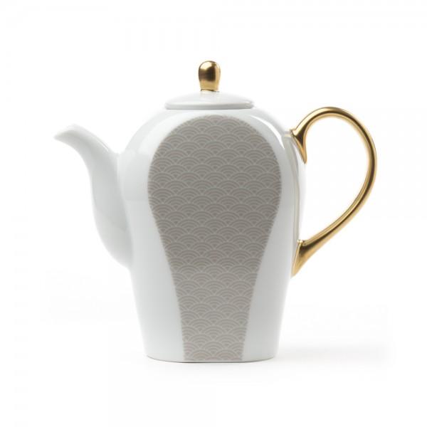 Porcelain teapot - Auteuil 0,8 L - grey & gold