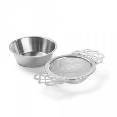"""DENTELLE"" Stainless steel tea strainer with tray"