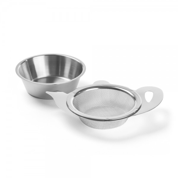«Théière» - Stainless steel tea strainer teapot shape with tray