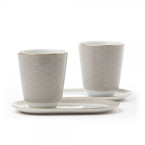 Auteuil' Set of 2 tea bowls with saucers - grey and gold pattern