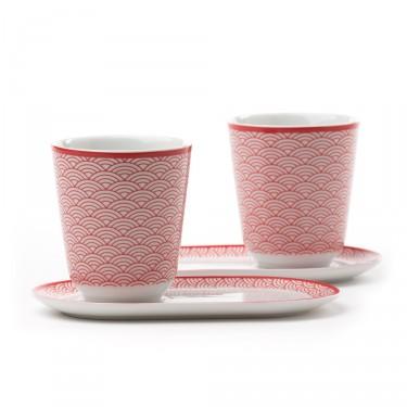 Auteuil - Set 2 bols avec soucoupes, décor rouge