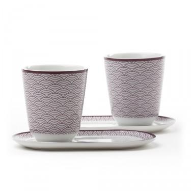 Auteuil - Set 2 bols avec soucoupes, décor violet