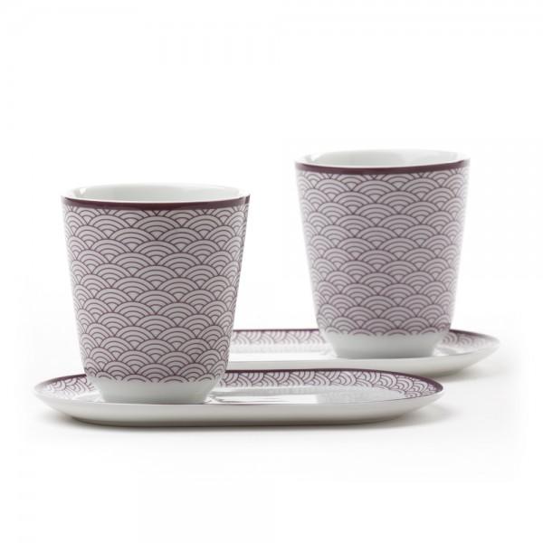 Auteuil' Set of 2 tea bowls with saucers - purple pattern