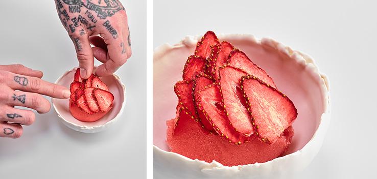 Recette sorbet fraise avec la tisane Mint Chaï